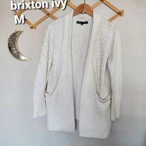 Textured weave knit cardigan OVERsized pockets M